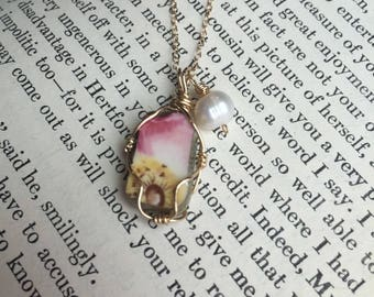Broken China Wire Wrapped Necklace 14 Karat Gold Filled Wire and Chain