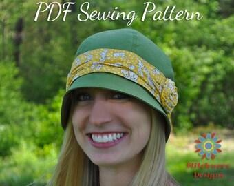 CLOCHE HAT PATTERN, Retro Vintage Flapper Hat Digital Pdf Sewing Pattern, Womens Hat Pattern, Tween-Adult Sizes, S110Adlt Azalea