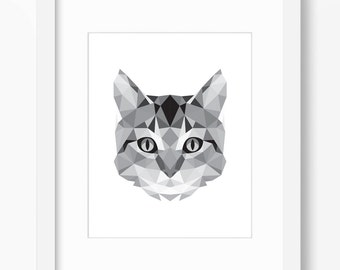 Cat Print, Cat Art, Cat Wall Art, Geometric Cat Print, Cat Wall Print, Origami Cat Print, Cat Face, Geometric Cat Art, Triangle Cat Art, Cat