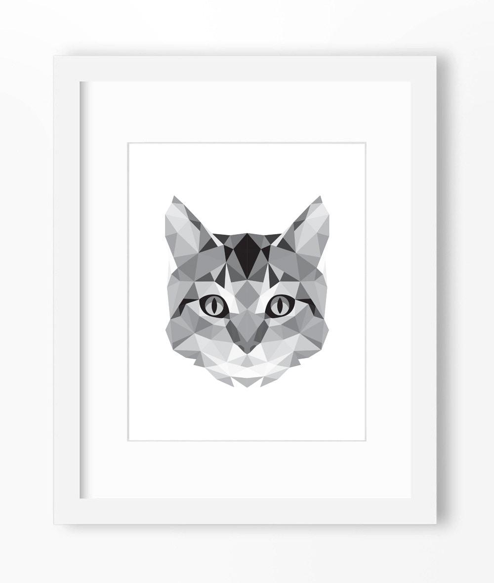 Cat Print Art Wall Geometric