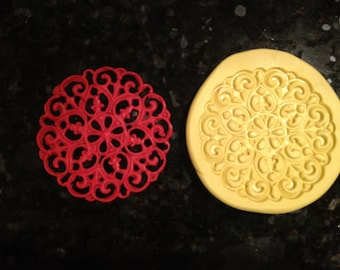 Large round Filigree Lace silicone mold