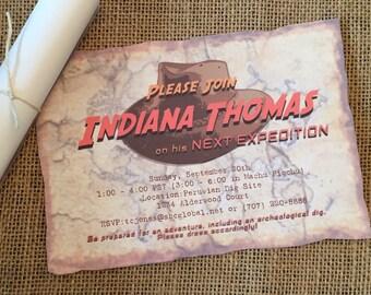 Indiana Jones Birthday Invitations - Indiana Jones Party Printable Invitation - Printable PDF File