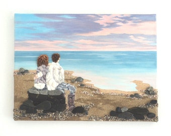 Acrylic Painting, Beach Artwork with Seashells and Sand, Couple on Beach in Seashell Mosaic on Sand, Mosaic Art, 3D Art Collage, Home Decor