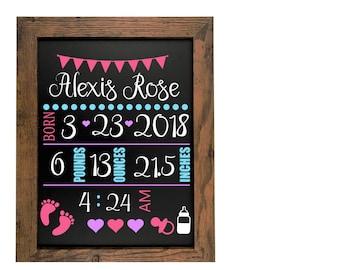girl birth announcement status chalkboard