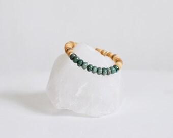 Jasper Beaded Bracelet + Natural Coconut Shell / KO-MALA Yoga Bracelet / Green Dragon Blood Jasper Healing Crystals / Stone Bracelet /