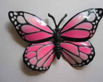 vintage BUTTERFLY brooch - figural butterfly pin - hot pink and black