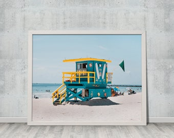 Digital Download, Fine Art Photography, Summer, Ocean, Landscape, Wall Art, Miami Beach Lifeguard Tower, Gift for Her, Gift for Him, #2