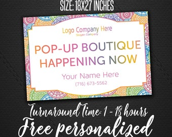 Mandala Yard Sign For Fashion Consultant | Mandala Style | Fast Personalization | Pop Up Boutique Banner | Large 18x27 LLR Yard Sign