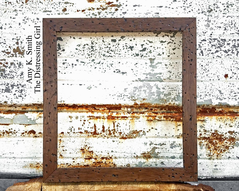Cuadro cuadrado rústico marco 10 por 10 fino oscuro marrón