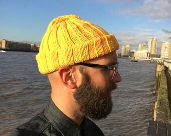 Beanie / Watch Cap, Hand Knitted Yellow Cotton