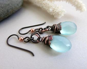 """Chalcedony Drop Earrings, Electroformed Copper, Niobium Earwires, 1 1/2"""" Drop, Faceted Gemstone Earrings"""