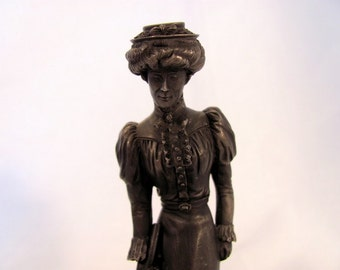 """Franklin Mint """"The Gibson Girl"""" Pewter Figurine"""