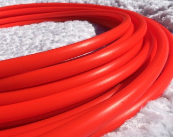 "UV Rocket Red 5/8"" HDPE Dance & Exercise Hula Hoop COLLAPSIBLE push button - neon fire orange minis"