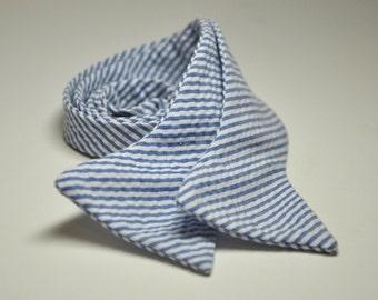 Men's Tie - Navy Blue Seersucker Stripe Freestyle Bow Tie LOTS of COLORS AVAILABLE