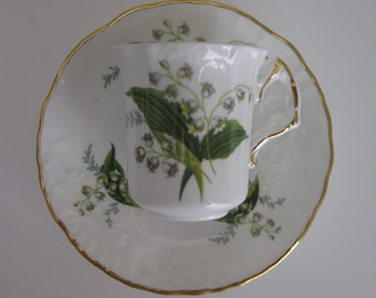 Vintage Hand Painted Hammersley Bone China Demitasse Cup and Saucer - Lily of the Valley - Made in England