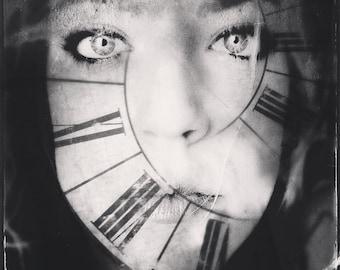 surreal portrait, dreamy portrait, woman clock photo, time, roman numerals, portrait photo, woman face, home decor, fine art, girl intense