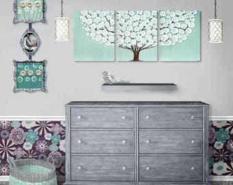 Bedroom Wall Art Painting on Large Canvas Triptych in Sea Glass Teal, Tree Bedroom Wall Decor - 50x20