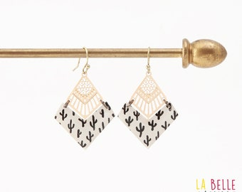 Diamond resin chevron pattern black cactus earrings