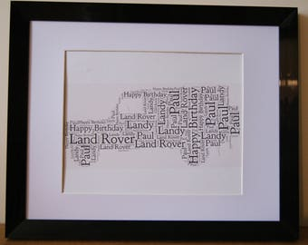 Personalised Word Art Print Land Rover Landy Father Dad Birthday card gift Frame