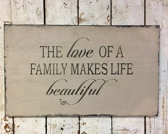 Love Of A Family Wall Art Decor Makes Life Beautiful Wood Sign Handmade Fixer Upper Style Wooden Rustic Sign Made To Order Gift For Her Mom