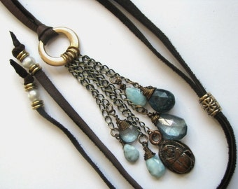 Leather Necklace with Larimar, Chrysocolla, Teal Blue Topaz, Pearl  and Bronze Scarab Charm
