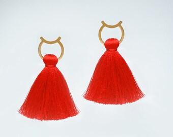Statement Jewelry Tassel Earrings Red Tassel Earrings Boho Tassel Earrings Gold Stud Earrings Tassel Hoop Earrings Bold Earrings/ OTTAVIA