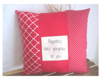 Red Accent Throw Pillow - Unique Throw Pillow - Housewarming Gifts - Red Decor Pieces - Designer Throw Pillow - Words On Pillow