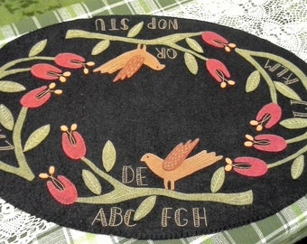 handmade, stitched,embroidery, wool table mat, primitive, country, alphabet, birds, tulips, flowers, vines, black, green