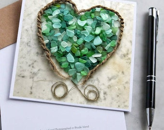 Green Seaglass Mandala Note Card with 5x5 square envelope, blank inside