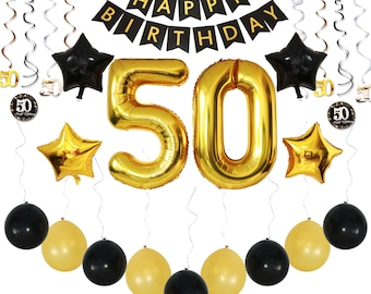 50th BIRTHDAY PARTY DECORATIONS: Giant 36 Pc Pack w/ Happy Birthday Banner + Balloons + Sparkly Hanging Swirls, Premium Bundle of Supplies