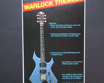 B.C. Rich Warlock guitar ad from 1983, ready for framing