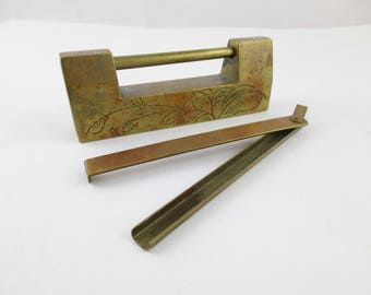Bar Lock and Key - Solid Brass Chinese Bar Lock - Vintage Slide Lock With Key