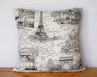Paris Pillow Cover, Fabric FROM Paris! French Country, Eiffel Tower Pillow, Country French Pillows, Black and White Pillows, Paris Decor