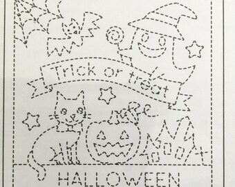 Olympus #9023 BLACK Japanese sashiko kit Trick or Treat Halloween