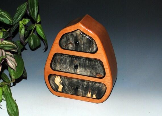 Wood Jewelry Box - Wooden Jewelry Box - Pod Style - Buckeye Burl on Cherry - Wooden Box - Gift Box - Jewelry Box- Handmade Box -Keepsake Box