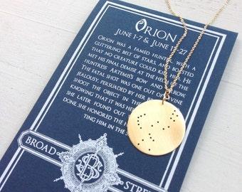 Orion Constellation Necklace//The Huntsman//Orion's Belt//Greek Mythology//Bridesmaids Gift//Rigel//Sterling//Brass or Gold//Gift for Grad