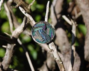 Rainbow Hematite ring SZ 5/ Sterling silver