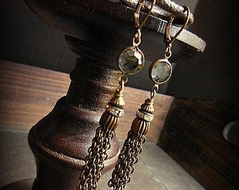 Vintage Metal Tassel and Swarovski Crystal Earrings