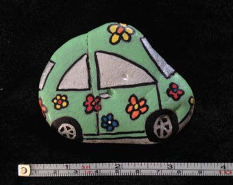 Flower Power VW Beetle Car Hand Painted River Rock
