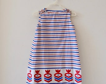 1960's Vintage Blue, Red and White Nautical Young Girl  A-line Shift Dress Cotton Sleeveless with 2 Buttons with Eagle Anchor Border Print