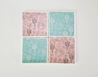 Cactus coasters, set of 4, ceramic coasters, housewarming gift, tile coasters, cactus decor, pink and blue coasters