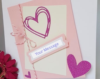 3D Hearts Love Card Personalised Elegant Simple Valentine Handmade VT06 PINK RED