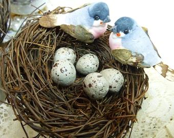 Bird Nest Bird Nest with Birds and Eggs Decorative Floral Supplies 4 inch size