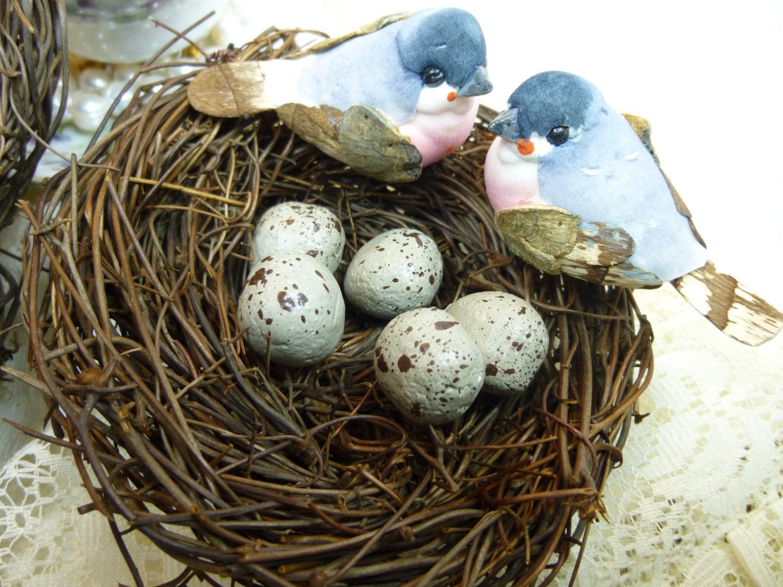 Bird Nest Bird Nest with Birds and Eggs Decorative Floral ...