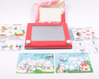 Smurfs Etch A Sketch Vintage Fun Screens Very Cool Set MIP ~ The Pink Room ~ 161215