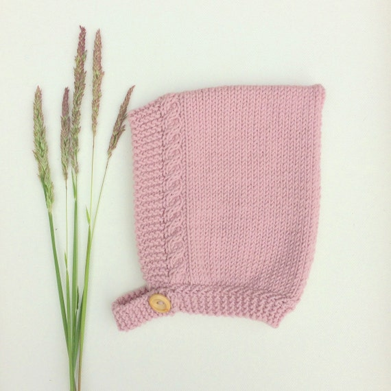 Merino Wool Cable Knit Pixie Hat - Rose Pink