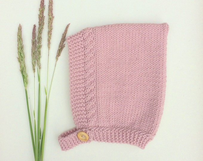 Featured listing image: Merino Wool Cable Knit Pixie Hat - Rose Pink