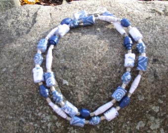 Lake Superior Blue paper bead necklace