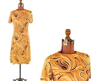 Vintage 1960's Gold + Brown Mod Abstract Psychedelic Swirl Print Shift Scooter Dress M