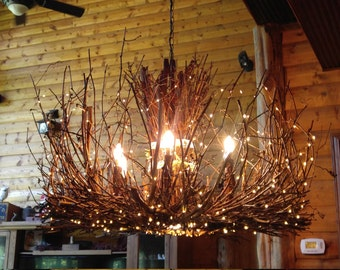 Grapevine chandelier etsy the castle rock 6 1 twig light rustic grapevine chandelier down light 300 leds branch light fixture aloadofball Choice Image